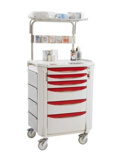 Flexline Critical Care Cart w/Overhead, select from (10) drawer-pull colors.