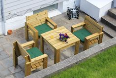 Garden chairs and table | Do It Yourself Home Projects from Ana White