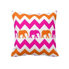 Bold Hot Pink Orange Elephants Chevron Stripes Pillow