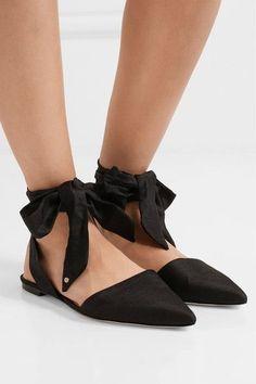 Sam Edelman - Brandie Slub Satin Point-toe Flats - Black - US8