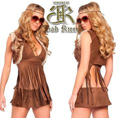 Our Groovy Baby 3pc costume set includes fringe halter top, a-line skirt, and front lined faux mohair vest. Faux suede, acrylic faux fur. $69.00 #groovyhippie #sexyhippie #hippiehalloween #perfecthippie #halloween #costume