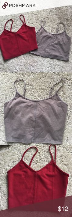 Crop top bundle Red size S, grey size M. 2 for 1! Tags: forever 21, free people, urban outfitters, pacsun, LF, Tobi, Topshop, Nasty Gal, Sabo Skirt, Missguided, Brandy Melville, Express, Lulu's, Windsor Forever 21 Tops Crop Tops
