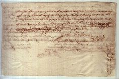 Written testimony of Mary Warren against Bridget Bishop in 1692 Salem witch trials