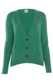 The Illann Dipped Hem Cardigan in Aquarium Green. Also in Heron, Willow and Turmeric.