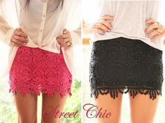 Totally got this skirt in coral color yesterday, for just dollars =) SCORE! Diy Shorts, Lace Shorts, I Love Fashion, Fashion Beauty, Summer Outfits, Cute Outfits, Sabo Skirt, Cute Skirts, Everyday Look