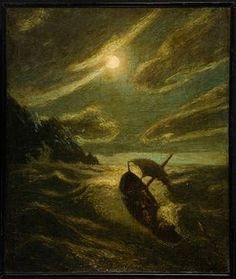 """Sea Tragedy,"" Albert Pinkham Ryder, ca.1892, oil on canvas, 15 5/8 x 13 1/8"", Ball State Museum of Art."