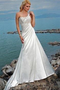 A-line/Princess One Shoulder Chapel Satin Wedding Dress  $191.10
