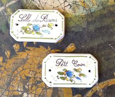 """French Ceramic Door Signs Provence 8-sided """"Bathroom"""" & """"Little Corner"""" #FrenchCountry"""