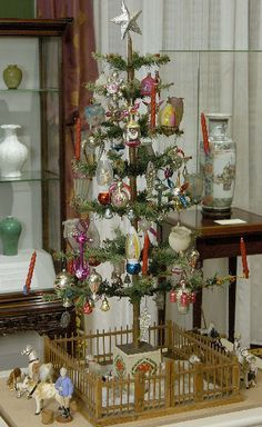 Antique Feather Tree ... Glass Ornaments ... Fence