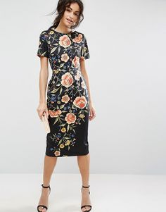 ASOS Wiggle Dress in Floral Embroidery Print - Multi by: ASOS