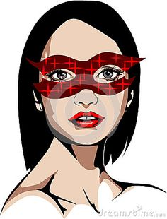 Elaborated Colored vector illustration of a blue-eyed woman in shiny red mask.
