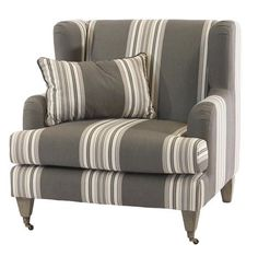 Grande Proportion Stripe Wing Chair – Allissias Attic & Vintage French Style