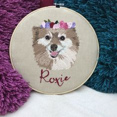 Hessian Fabric, Linen Fabric, Portrait Embroidery, Wooden Embroidery Hoops, Embroidered Gifts, Punch Needle, Natural Linen, Pet Portraits, Presents