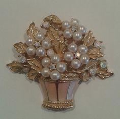 Vintage Crown Trifari Brooch, Gold tone Flower Basket, Faux Pearls, Rhinestones and Pink Enamel basket.
