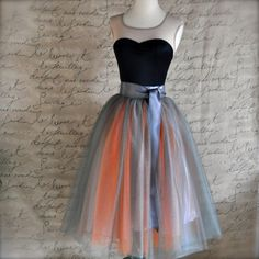 Grey and orange tulle skirt for women. Wide by TutusChicBoutique