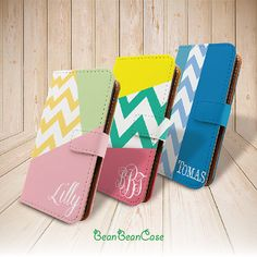 Pu leather case, chevron geometric zig zag monogram custom name wallet flip cover leather case for for iPhone 5 5S, iPhone 5C, Moto x by BeanBeanCase, $16.99