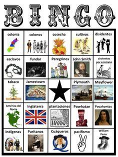 13 Colonies BINGO Game in Spanish! BINGO de las Trece Colonias en español! Colonial America. América Colonial. Social Studies. Estudios Sociales.