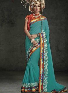 Sky Blue Embroidery Work Chiffon Designer Party Wear Sarees  #Wedding #Bridal #designer #Saree       http://www.angelnx.com/Sarees