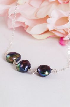 Cool Waters – Black Baroque Pearls Necklace