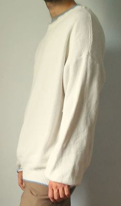 BURBERRYS men's white sweater (sz. XL) cotton 100% #Burberrys #Crewneck