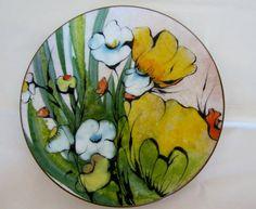 Vintage Bachrach Art Enamel Flower Power Enamel Plate by linbot1