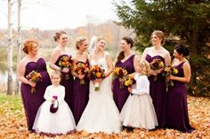 Purple And Orange Fall Wedding Inspiration:  This Autumn wedding is a great example how to decorate and what to use. The still warm fall day, the deep plum bridesmaids' dresses and colorful orange fall bouquets,    Just a little bit of rustic charm and a slight retro hint – and a perfect fall wedding theme is ready!  From: http://www.weddingomania.com/