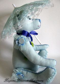 Blue teddy bear embroidered with silk ribbons