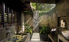 Outdoor Bali bathroom.