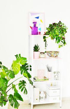 Transform IKEA's Hyllis shelving unit into this interesting DIY Half pink shelf in just a few easy steps