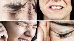 Collage von vier schmerzverzerrten Gesichtern.