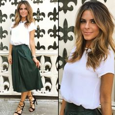 """Maria Menounos from E! News Look of the Day """"@enews fashion:Necklace: @eddieborgoShirt: @hmSkirt: @wayfprShoes: @stuartweitzmanNew hair color by: @giannetos@enews is on tonight 7&11pm"""""""