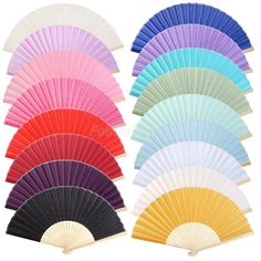 Chinese Silk Bamboo Fan Folding Hand Fans for Outdoor Wedding Party Favors Gift