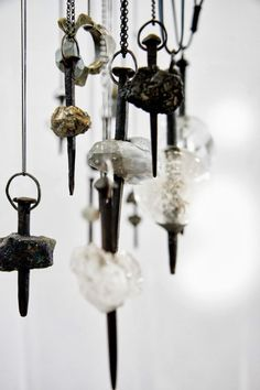 Moniek Schrijer - Untitled, 2011-12, pendants, iron nails, sterling silver, natural minerals, various sizes, photo: Moniek Schrijer – (Whitireia 2012 BA degree)