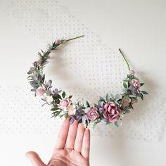 Boho Headpiece, Flower Headpiece, Grey Flowers, Floral Crown, Wedding Hair Accessories, Diy Wedding, Floral Wedding, Paper Flowers, Bridal Jewelry