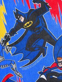 DC Comics Batman Robin Blue Twin FLat Bed Sheet Boys Super Hero TV 1996 Bright #DCComics