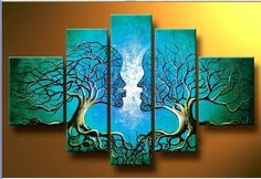 5 Piece Pictures Wall Art Artwork The Lovers Tree Of Life Kiss Love Oil Painting On Canvas The Picture For Home Decoration $65.99