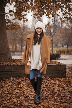 Zara coat, jeans and oversized sweater