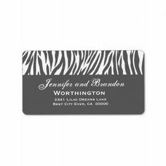 #Elegant #Gray #White #Zebra #Wedding #AddressLabel http://www.zazzle.com/elegant_gray_and_white_zebra_wedding_address_label-106765874578681215