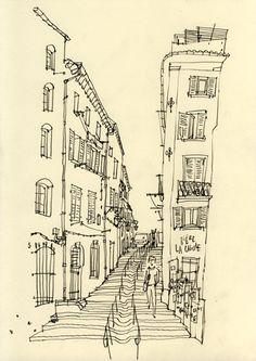 Philippe Doro : Marseille, Montée des Accoules. Dessin au crayon.