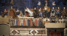 Ambrogio Lorenzetti's Allegory of the Good Government, 1338-40, Fresco in Palazzo Publico (Town Hall), Siena, Italy, in the Salon of Nine.