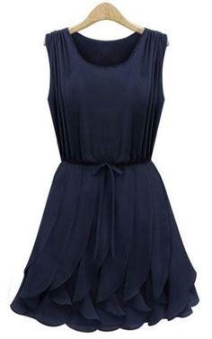 Love ruffles! Navy Sleeveless Ruffles Pleated Chiffon Dress #sheinside.com