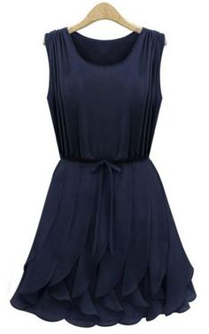 Navy Sleeveless Ruffles Pleated Chiffon Dress pictures