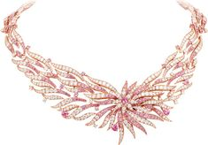 Flamant corail necklace: Pink gold, round diamonds, round and pear-shaped pink sapphires, round peridots, pink and red coral, onyx. © Van Cleef & Arpels