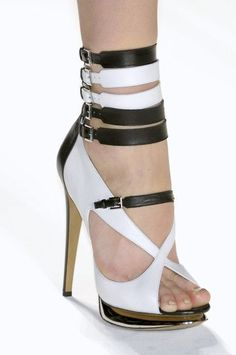 Nicholas Kirkwood for Prabal Gurung.Tiny buckles black and white pair of these stilettos Mpower Hot Shoes, Crazy Shoes, Me Too Shoes, Shoes Heels, Strap Heels, Sandal Heels, Ankle Straps, Strappy Sandals, Leather Sandals
