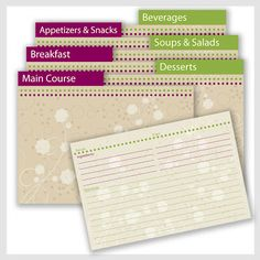 Free Recipe Card and Divider Printables!    From: Maddalee.blogspot.com