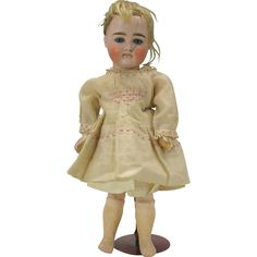 "Kestner closed mouth bisque head cabinet doll 12"" sadly AS IS"