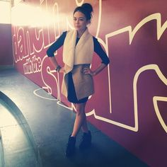 Janel Parrish looks so stylish in her dress and coat. | Pretty Little Liars