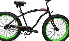 Micargi SLUGO B Series FAT TIRE Beach Cruiser Bike -- Matte Black with Green Rims - http://www.bicyclestoredirect.com/micargi-slugo-b-series-fat-tire-beach-cruiser-bike-matte-black-with-green-rims/