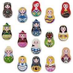 A world of favorite Disney friends nest together in this collection of Disney Pins styled after traditional European nesting dolls. Each blind pack contains five randomly selected pins from a possibility of 16 different designs. Walt Disney, Disney Girls, Disney Love, Disney Magic, Disney Pixar, Disney Babies, Disney Stuff, Disney Pin Trading, Broches Disney