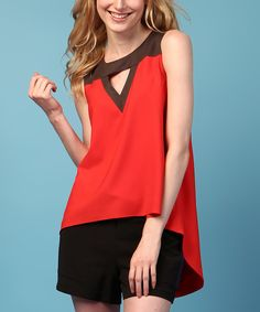 Another great find on #zulily! Cindy + Johnny Poppy Red Cutout Kendall Hi-Low Top by Cindy + Johnny #zulilyfinds